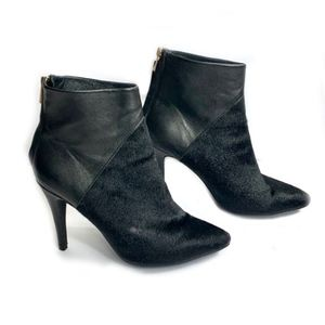 RAYE Black Pony Hair and Leather Ankle Boots